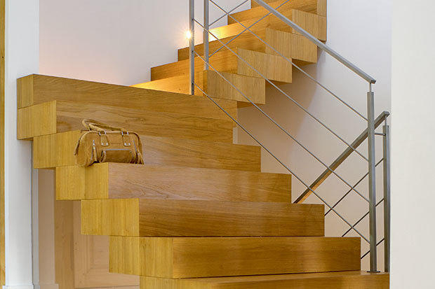 Contemporary wooden staircase